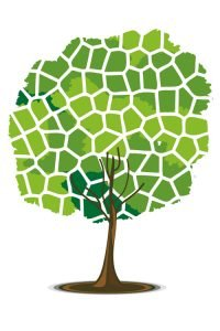 illustration of tree in mosaic pattern on isolated background